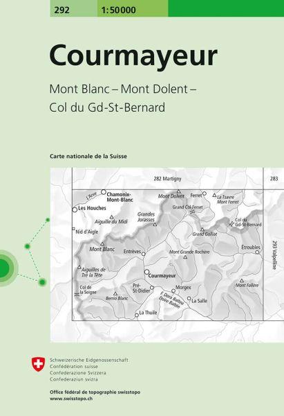 292 Courmayeur topographische Wanderkarte Schweiz 1:50.000