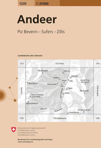 1235 Andeer topographische Wanderkarte Schweiz 1:25.000