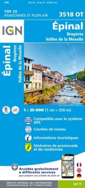 IGN 3518 OT Épinal, Frankreich topographische Wanderkarte 1:25.000