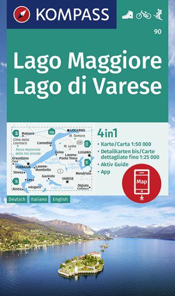 Kompass Karte 90, Lago Maggiore, Lago di Varese 1:50.000, Wandern